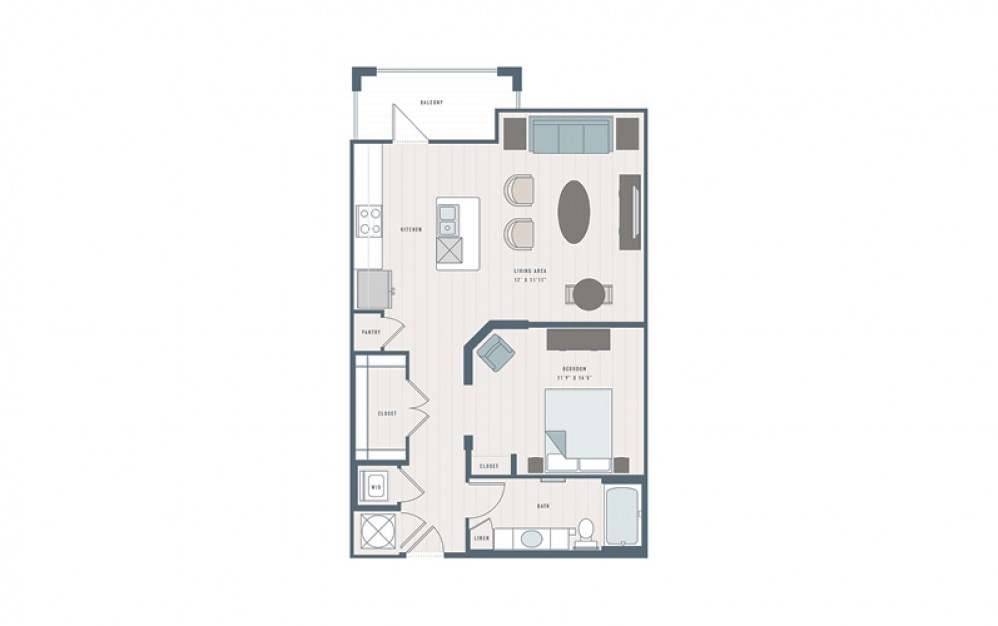 Field Pea - Studio floorplan layout with 1 bath and 886 square feet.