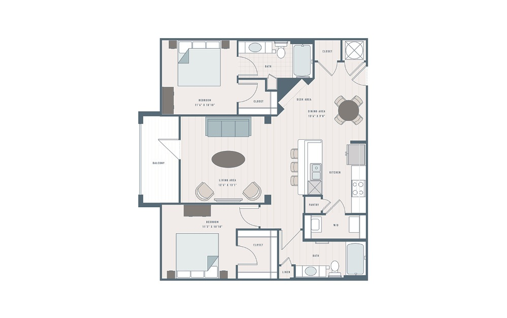Kale - 2 bedroom floorplan layout with 2 baths and 1159 square feet.