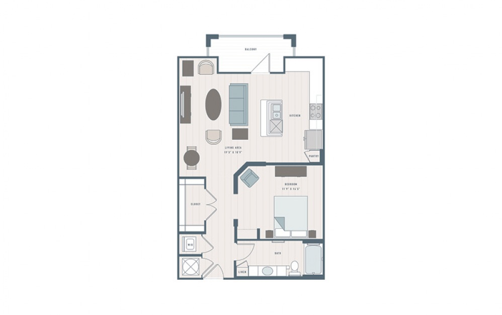 Peach - Studio floorplan layout with 1 bath and 888 square feet.