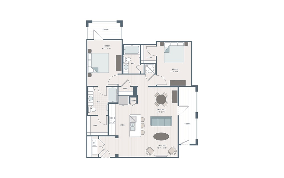 Rosemary - 2 bedroom floorplan layout with 2 baths and 1367 square feet.
